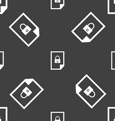 File locked icon sign seamless pattern on a gray vector