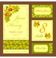 Sunflower wedding card set printable vector