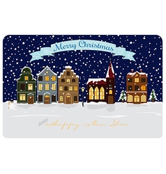 Winter village seasonal greetings vector