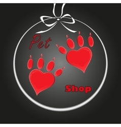 pet heart logo dog paw logo zoo shop vector image