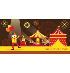 Amusement park circus clown vector