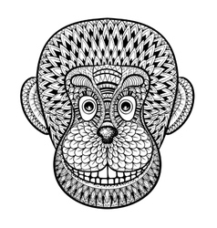 Coloring pages with head of monkey gorilla vector