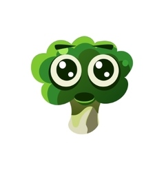 Shocked broccoli emoji vector