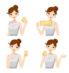 Woman showing blank cards set vector