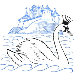 Swan in front of a palace vector