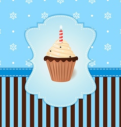 Vintage winter card with cream cake and candle vector