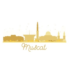 Muscat city skyline golden silhouette vector
