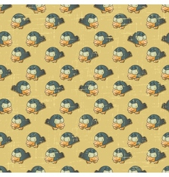 Vintage cartoon birds pattern vector