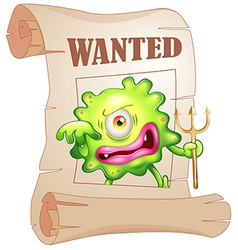 A wanted monster vector image vector image