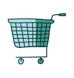 Aquamarine hand drawn silhouette of supermarket vector