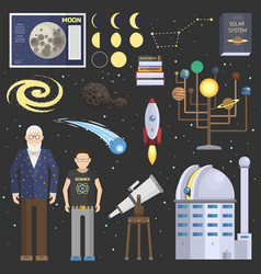 Astronomy oldman and school boy symbolsstickers vector