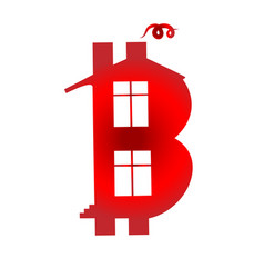 Bitcoin the red bit a digital currency the vector
