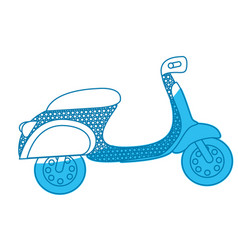 Blue silhouette of scooter with dotted contour vector