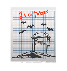 cemetery doddle on paper vector image