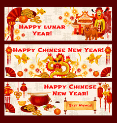 Chinese new year symbols greeting banners vector