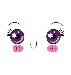 Colorful cute facial expression kawaii vector