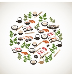 Colorful japanese food icons vector image