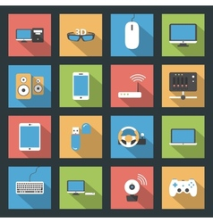 Computers peripherals and network devices flat vector image vector image