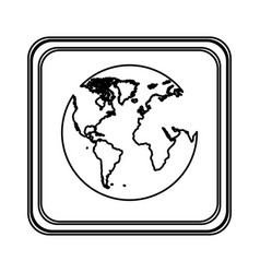 Contour emblem earth planet icon vector