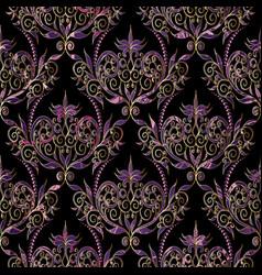 damask seamless pattern floral black violet gold vector image