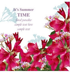 Gladiolus flowers summer bouquet invitation card vector