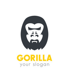 gorilla head logo element over white vector image
