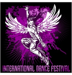 Grunge poster with girl dancer vector image vector image