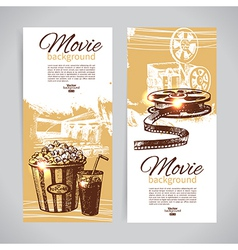 hand drawn sketch Set of cinema banners vector image vector image