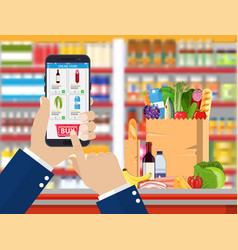 hand holding smartphone with shopping app vector image vector image