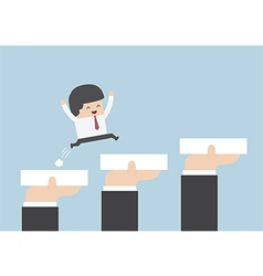 Hands holding blocks to help businessman to go to vector image vector image