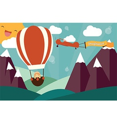 Imagination concept - girl in air balloon vector image