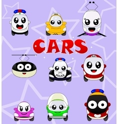 Kawaii cute icons such as car bus train tram vector image vector image