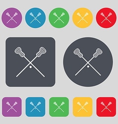 Lacrosse sticks crossed icon sign a set of 12 vector