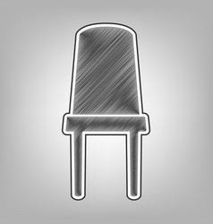 Office chair sign pencil sketch imitation vector