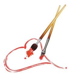 Paintbrush and Red Heart4 vector image