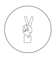 Peace icon in outline style isolated on white vector