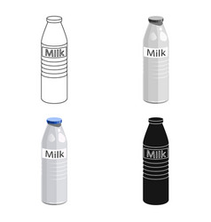 plastic milk bottle icon in cartoon style isolated vector image vector image
