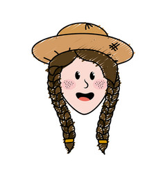 Pretty woman face with hat vector