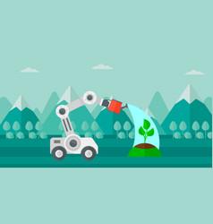 Robot watering tree outdoor vector