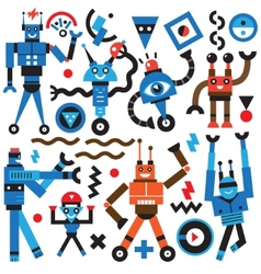 Robots icons vector