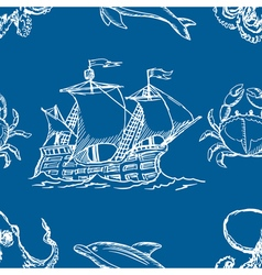Seamless background with marine motive vector
