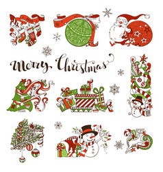 Set of christmas decorations and design elements vector