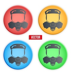 Set of colorful head gas mask signs vector