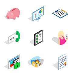 Specialists of the enterprise icons set isometric vector