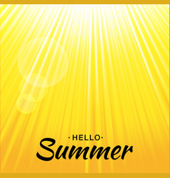 summer yellow glow background with sun rays vector image