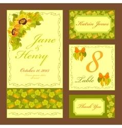 Sunflower wedding card set printable vector