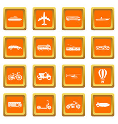 transportation icons set orange vector image
