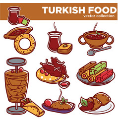 Turkish food cuisine dishes icons for vector