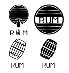 Vintage labels set with barrels of rum vector