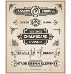 Vintage retro banner and ribbon set vector